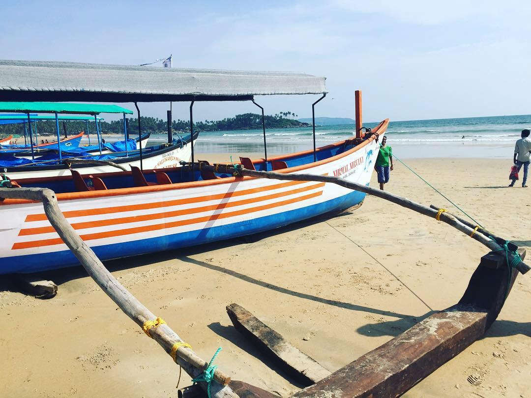 Les bateaux sur la plage de Palolem